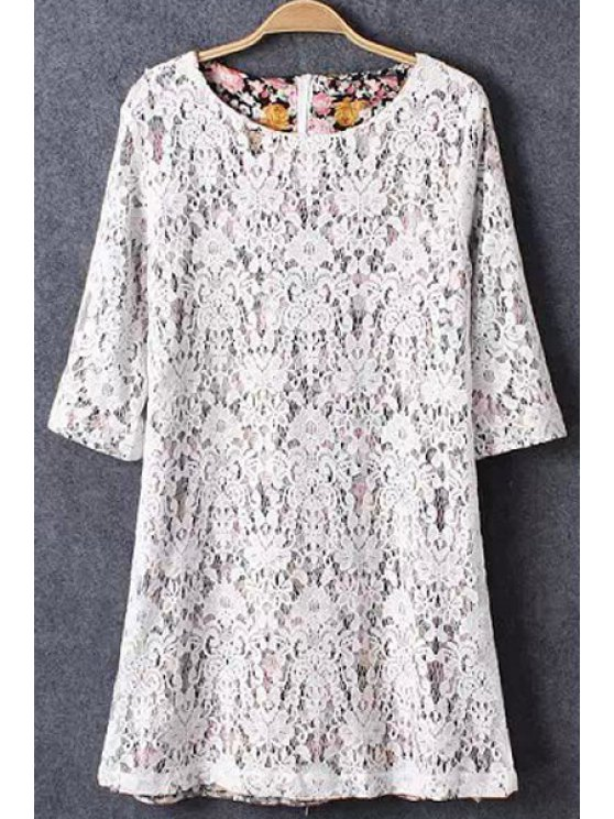 outfits White Lace Half Sleeve Dress - WHITE S