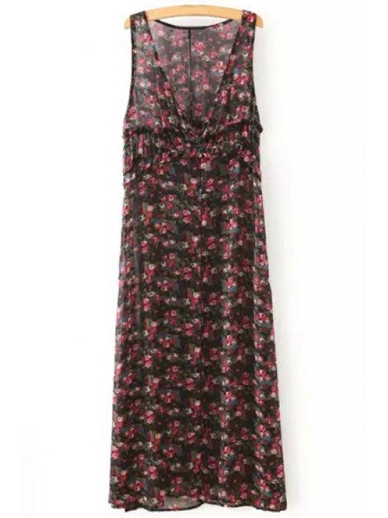 womens Sleeveless Tiny Floral Print Maxi Dress - RED S
