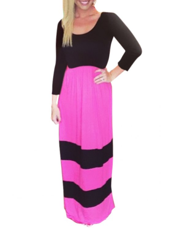 hot Long Sleeve Color Block Maxi Dress - RED WITH BLACK S