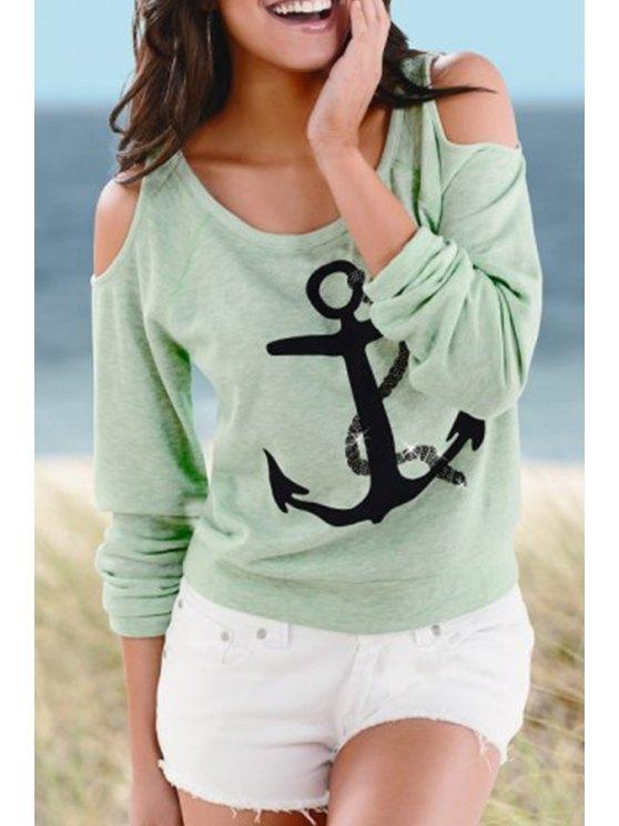 fancy Scoop Neck Anchor Print Long Sleeve T-Shirt - GREEN S