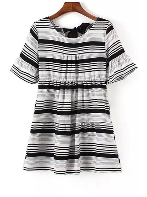 latest Stripe Scoop Neck Short Sleeve Dress - WHITE AND BLACK ONE SIZE(FIT SIZE XS TO M)