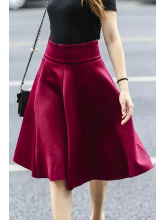ladies Solid Color Flouncing High Waisted Skirt - RED S