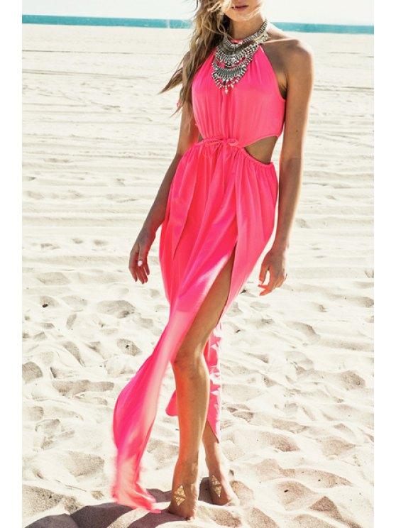 latest Hollow Out High Slit Sleeveless Dress - PINK L