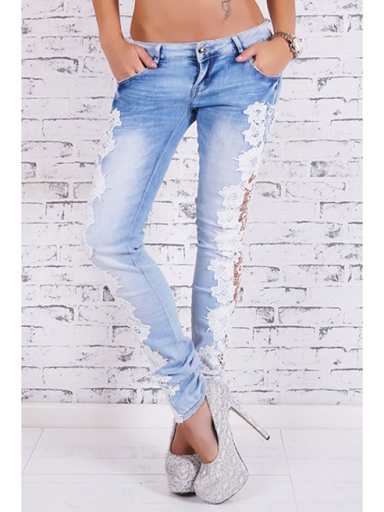 women's Bleach Wash Lace Spliced Pencil Jeans - LIGHT BLUE S