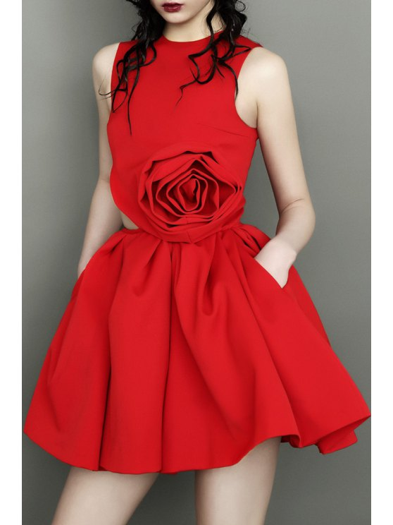 outfit Stereo Rose Round Neck Sleeveless Dress - RED S