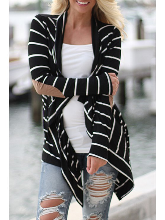 trendy Collarless Striped Applique Irregular Hem Coat - BLACK XL