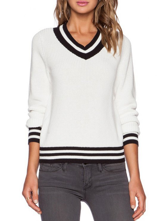 sale Stripes Spliced V Neck Pullover Sweater - WHITE ONE SIZE(FIT SIZE XS TO M)
