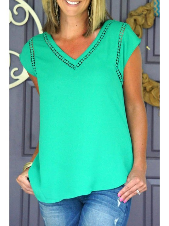 outfit V Neck Green Lace Splicing Short Sleeve T-Shirt - GREEN S