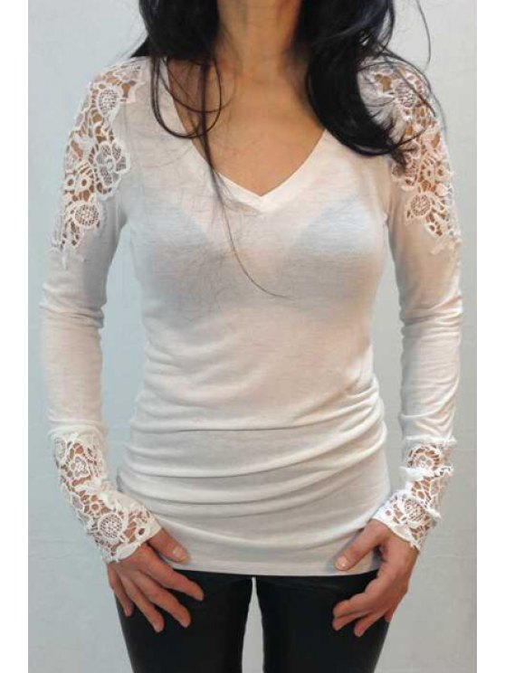 affordable Long Sleeve Lace Spliced T-Shirt - WHITE S