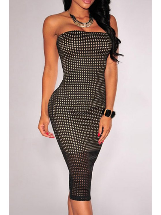 best Checked Pattern Strapless Pencil Dress - BLACK M