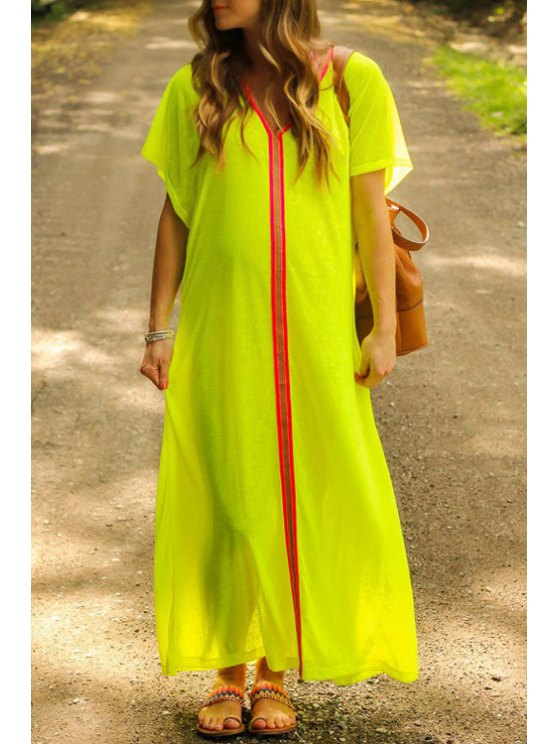 shops V Neck Stripe Short Sleeve Maxi Dress - YELLOW S