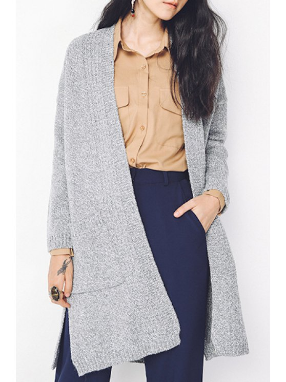 fashion Pocket Design Side Slit Cardigan - GRAY ONE SIZE(FIT SIZE XS TO M)