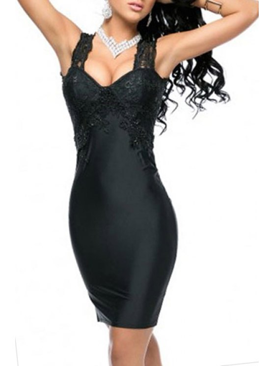 latest Black V Neck Sleeveless Hollow Bodycon Dress - BLACK ONE SIZE(FIT SIZE XS TO M)