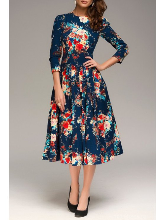 womens Colorful Floral Print 3/4 Sleeve Dress - PURPLISH BLUE S