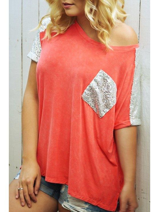 unique Skew Neck Color Block Sequined Pocket T-Shirt - ORANGE S