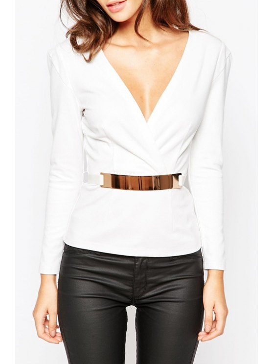 hot Plunging Neck Long Sleeve Voile Spliced T-Shirt - WHITE S