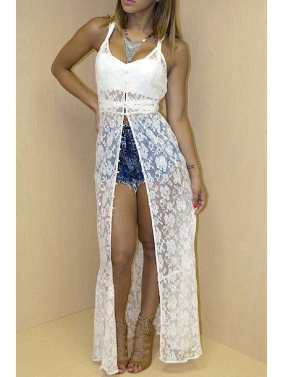 shop Spaghetti Strap See-Through Lace Sleeveless Dress - WHITE S
