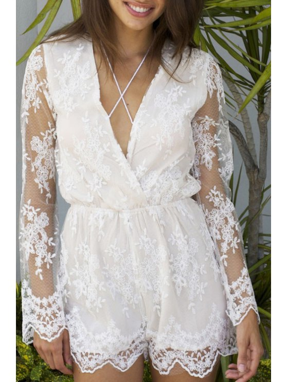 affordable V Neck See-Through Lace Long Sleeve Romper - WHITE S