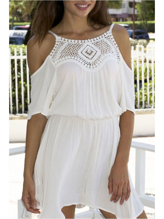 women Spaghetti Strap Lace Splicing Openwork Short Sleeve Dress - WHITE S