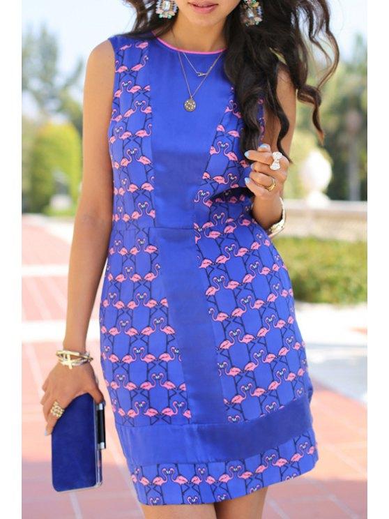 fancy Pink Swan Print Sleeveless Dress - BLUE AND PINK M