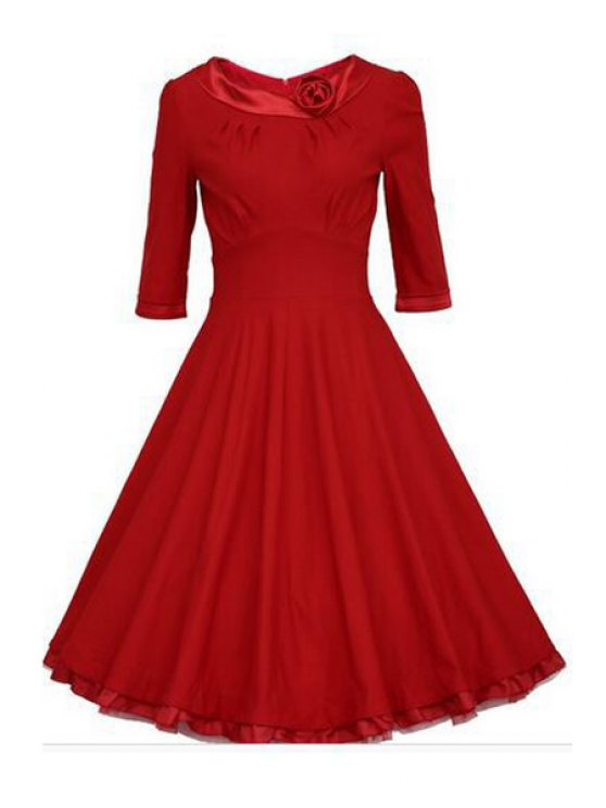 sale Half Sleeve Nipped Waist Ball Gown Dress - RED S