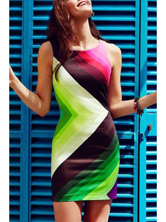 women's Colorful Stripe Sleeveless Dress - AS THE PICTURE M