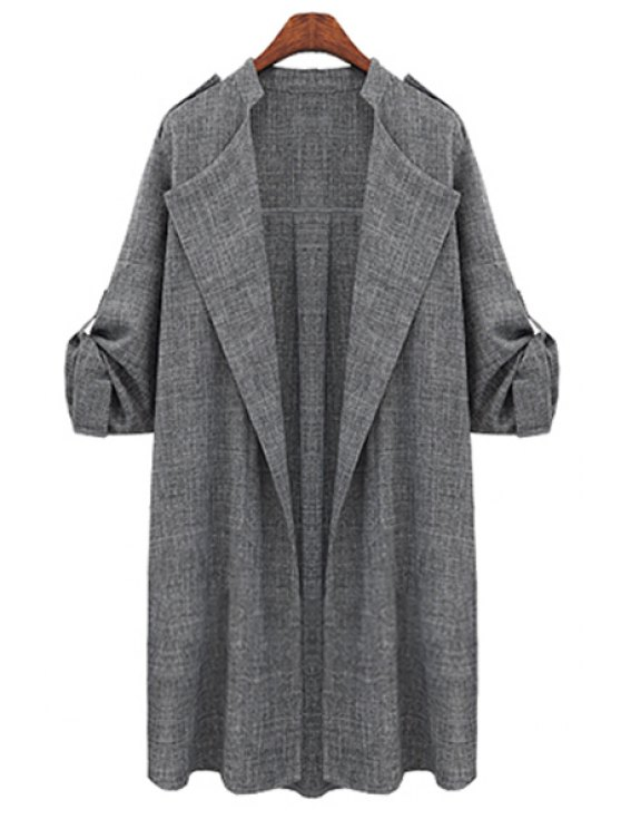 womens Draped Sleeve Plus Size Trench Coat - DEEP GRAY XL