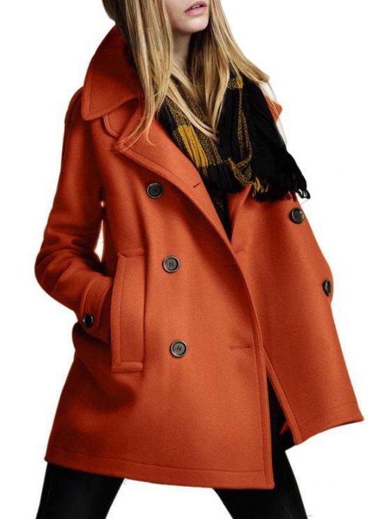 buy Double-Breasted Pocket Design Woolen Coat - ORANGE S