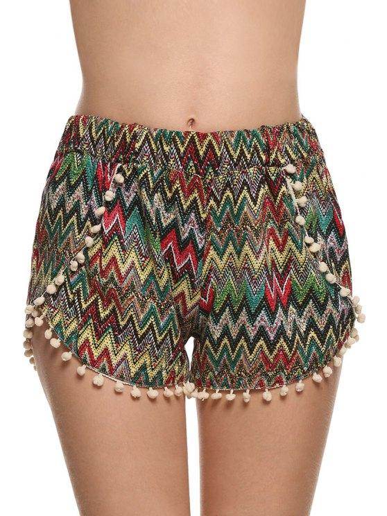 trendy Straight Leg Zig Zag Laciness Shorts - COLORMIX S