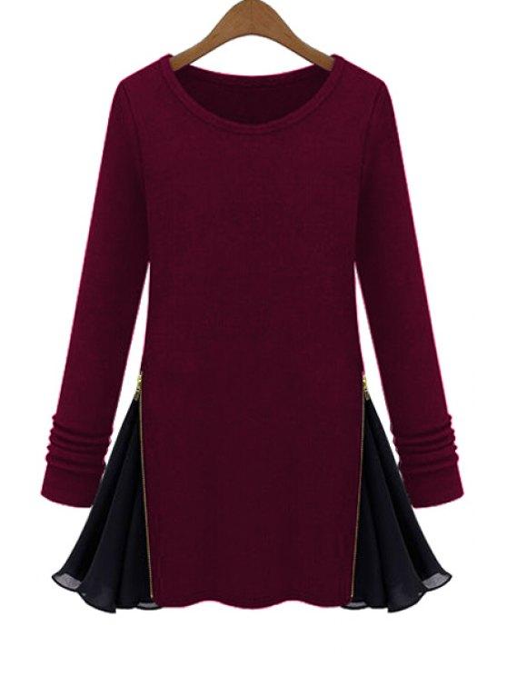 fancy Long Sleeve Zipper Chiffon Spliced T-Shirt - WINE RED M