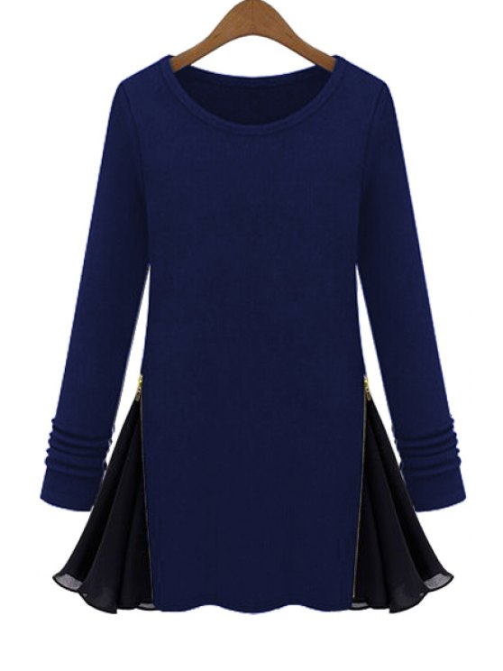 fancy Long Sleeve Zipper Chiffon Spliced T-Shirt - PURPLISH BLUE L