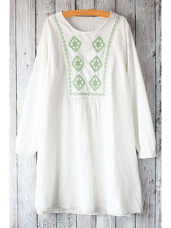 online Jewel Neck Argyle Pattern Embroidery Dress - WHITE ONE SIZE(FIT SIZE XS TO M)