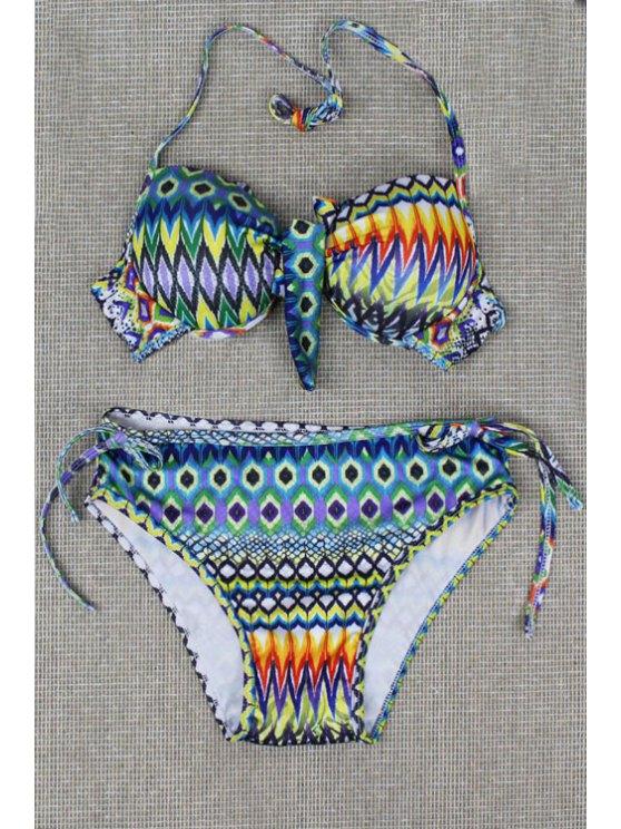 lady Tribal Print Halterneck Bikini Set - AS THE PICTURE S