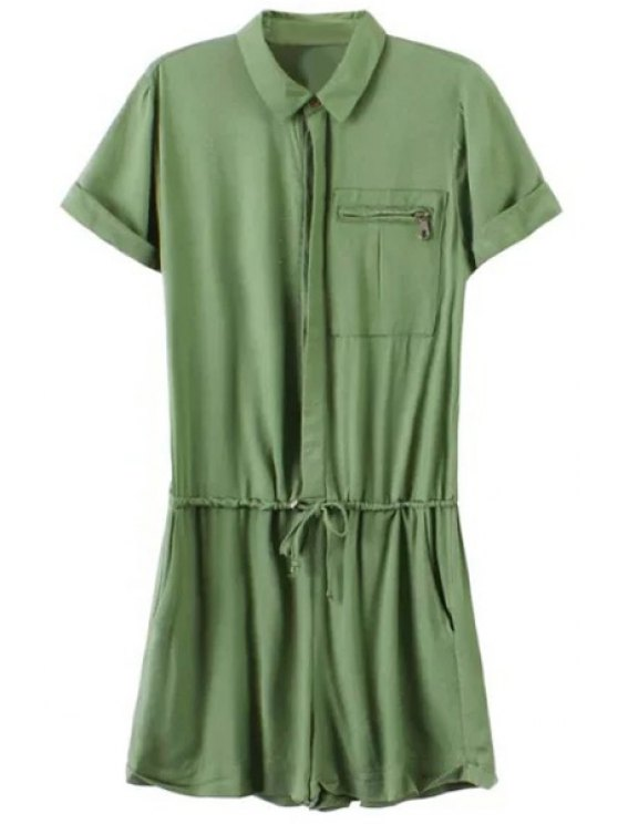 women's Drawstring Design Army Green Playsuit - ARMY GREEN S