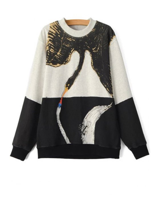 outfits Color Block Swan Print Sweatshirt - WHITE AND BLACK M