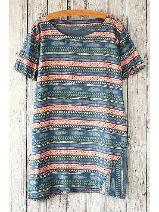 shop Jewel Neck Colorful Stripe Short Sleeve T-Shirt - BLACKISH GREEN ONE SIZE(FIT SIZE XS TO M)