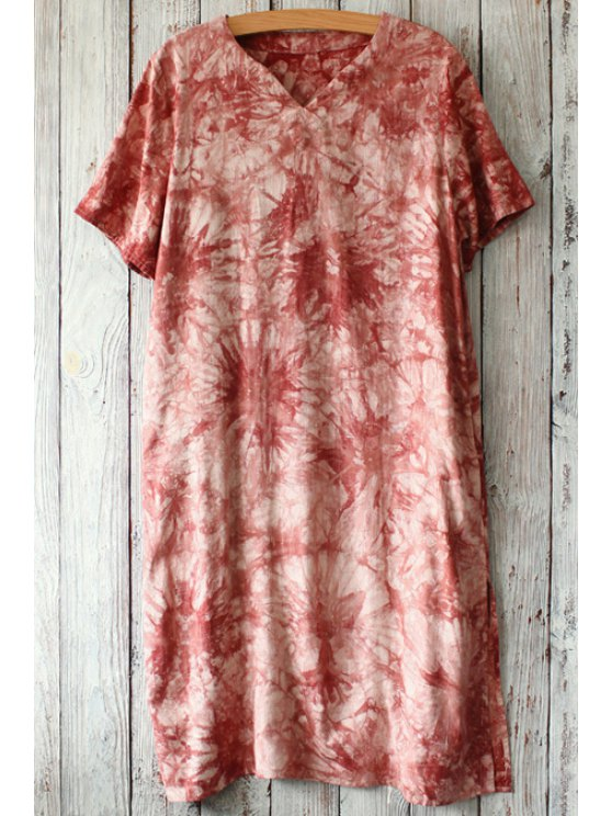 latest Floral Pattern Tie Dye Short Sleeve Dress - WINE RED ONE SIZE(FIT SIZE XS TO M)