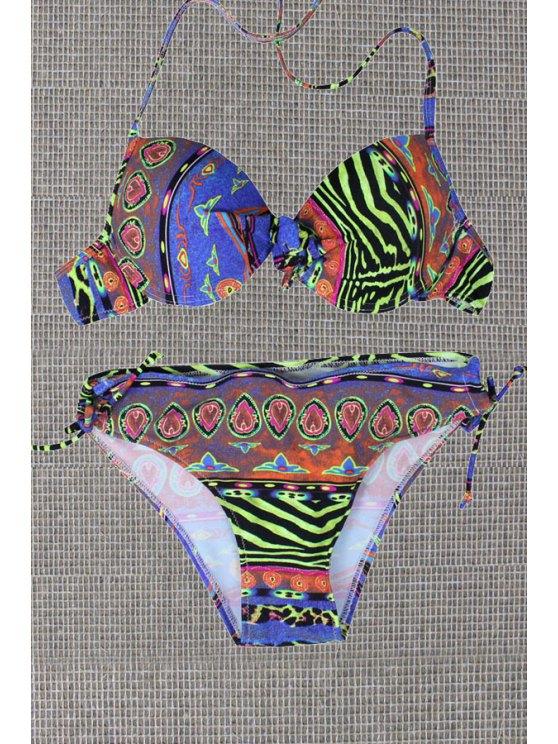 women's Halterneck Print Lace Up Bikini Set - COLORMIX XS