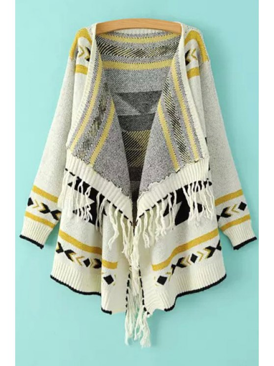unique Ethnic Pattern Tassels Asymmetrical Cardigan - WHITE ONE SIZE(FIT SIZE XS TO M)