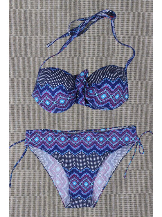 outfits Bohemian Pattern Halter Bikini Set - AS THE PICTURE S