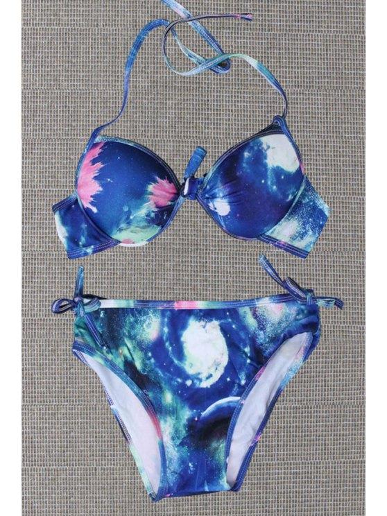 online Starry Sky Print Halter Bikini Set - BLUE 2XL