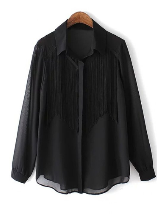 best Long Sleeve Tassels See-Through Chiffon Shirt - BLACK S