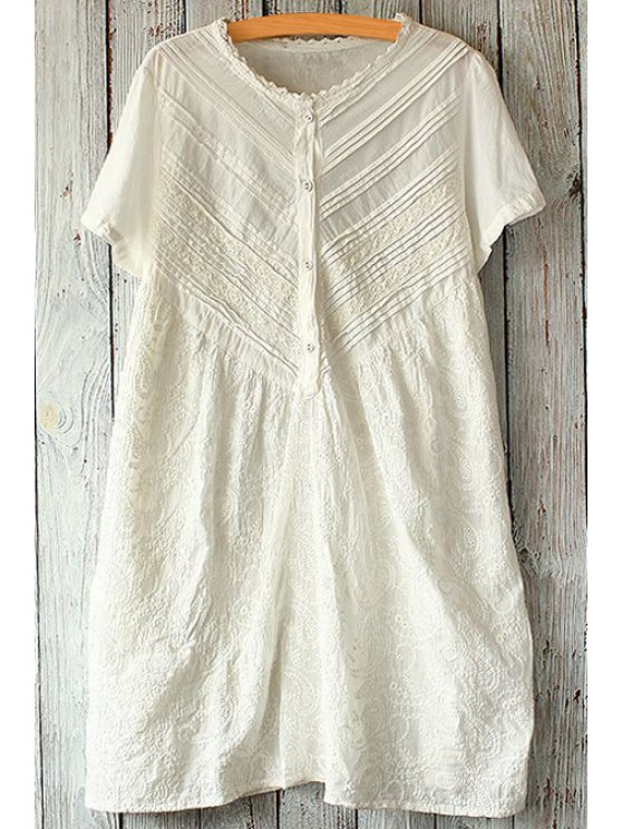 fancy Zig Zag Lace Splicing Short Sleeve Dress - WHITE ONE SIZE(FIT SIZE XS TO M)