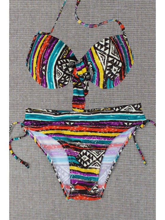 unique Colored Striped Print Halter Bikini Set - AS THE PICTURE S