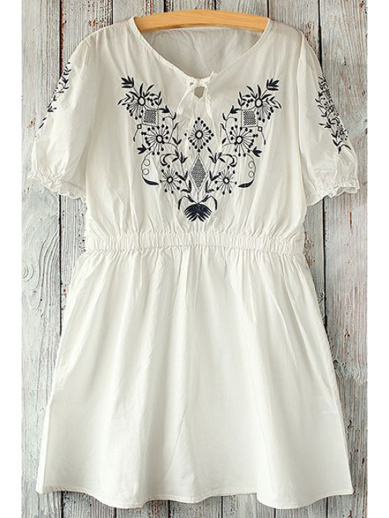 affordable V Neck Floral Embroidery Short Sleeve Dress - WHITE ONE SIZE(FIT SIZE XS TO M)