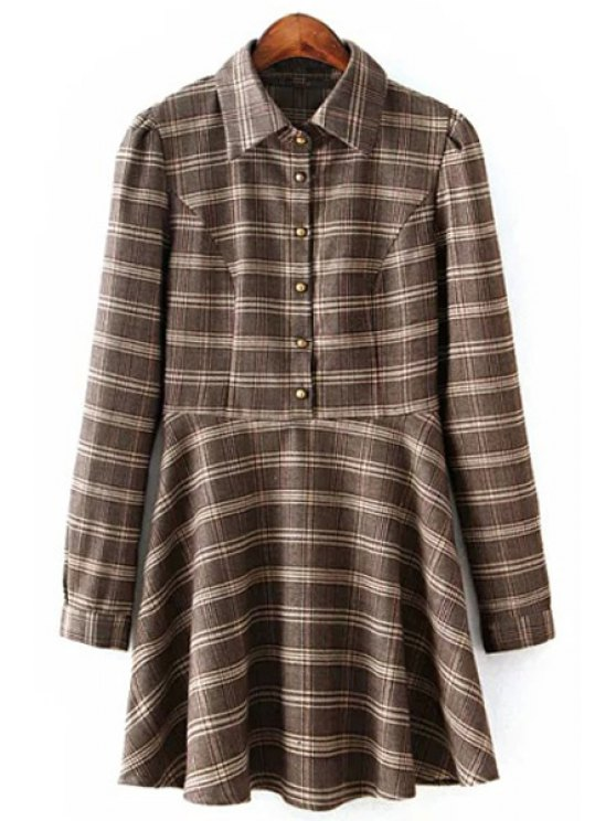 shop Long Sleeve Ruffled Plaid Shirt Dress - COLORMIX S