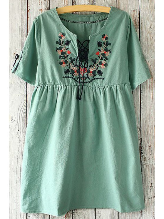 lady Scoop Neck Tie-Up Floral Embroidery Dress - GREEN ONE SIZE(FIT SIZE XS TO M)