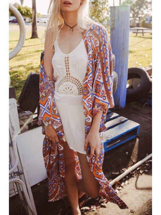 ladies Collarless Geometric Print Kimono Blouse - COLORMIX S