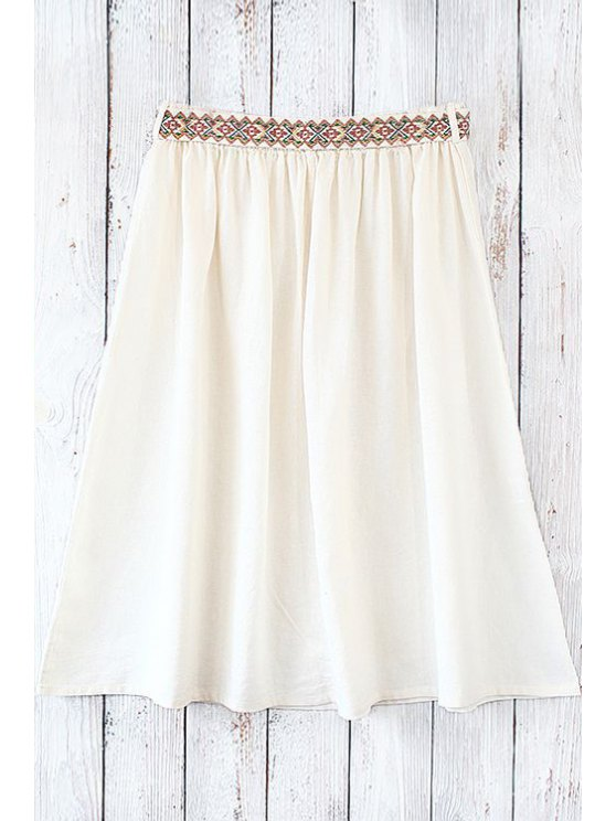 affordable Solid Color Embroidery Belt Skirt - OFF-WHITE ONE SIZE(FIT SIZE XS TO M)