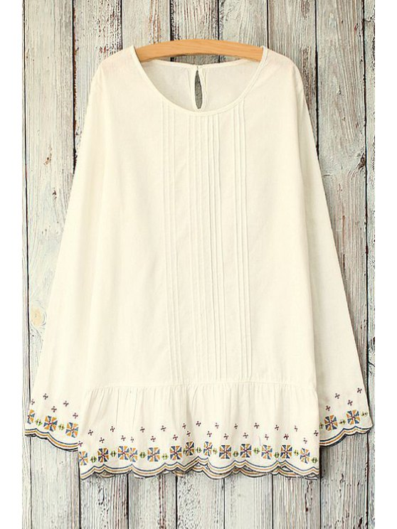 shop Ruffle Embroidery Long Sleeve Blouse - OFF-WHITE ONE SIZE(FIT SIZE XS TO M)